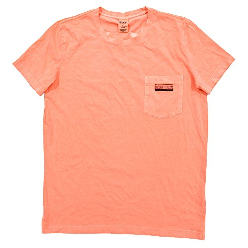 (Victoria's Secret Pink Short Sleeve Crew Neck Graphic T-Shirt (XS, Orange))