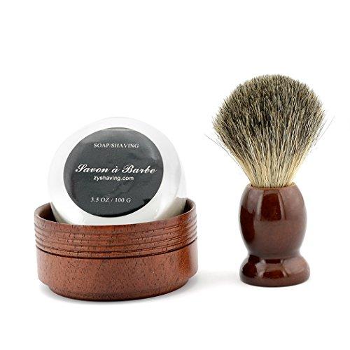 ZY Pure Badger Hair Shaving Brush Natural Wood Mug Bowl Hand-Made Soap Barber Set