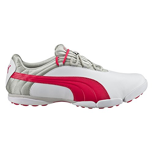 PUMA Women's Sunnylite v2 Golf Shoe, White/Rose Red/Gray, 8 M US