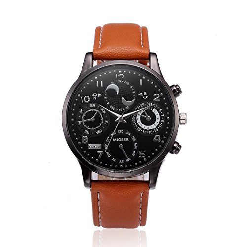 Mens Watches, Paymenow Mens Retro Chronograph Watch Classic Large Face Watches Quartz Wrist Watch Comfortable PU Leather Watches