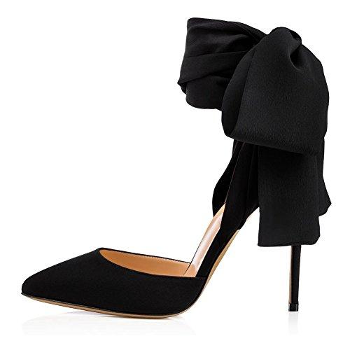 Robe Black Pansements Rouge Sandales Sqy Satin Noir Cheville Femmes Pointu Pompe Des AXc7P0wq6