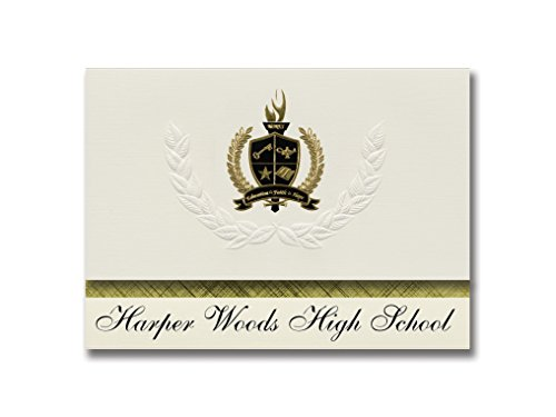 Signature Announcements Harper Woods High School (Harper Woods, MI) Graduation Announcements, Presidential style, Basic package of 25 with Gold & Black Metallic Foil - Mi Harper Wood