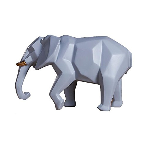 (Colias Wing Home Decor Cartoon Animal Geometric Elephant Shape Design Coin Bank Money Saving Bank Toy Bank Cents Penny Piggy Bank-Grey/White)
