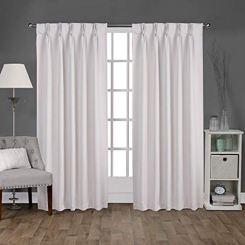 (Exclusive Home Sateen Twill Woven Blackout Pinch Pleat Curtain Panel Pair, Vanilla)