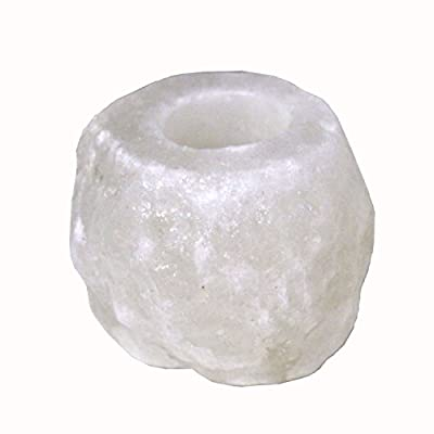 """Himalayan Salt Candle Holder WHITE, 1.5 - 2 lbs in weight 4.5"""" X 4.5"""" X 3.75"""" in height -FluorescentGlow when Lit - Premium Quality Crystal Salt extracted directly from Himalayas"""