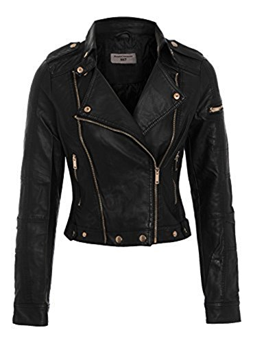 veste femmes SS7 8 cuir ORIGINAL simili Noir motard noir 12 PBXOqP