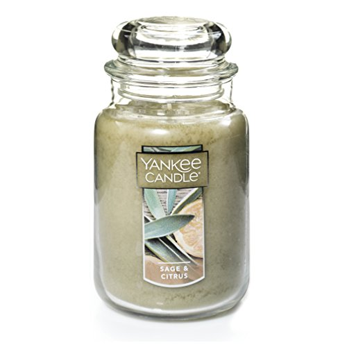 Jar Paraffin Wax Candle - Yankee Candle Large Jar Candle|Sage & Citrus Scented Candle|Premium Paraffin Grade Candle Wax with up to 150 Hour Burn Time