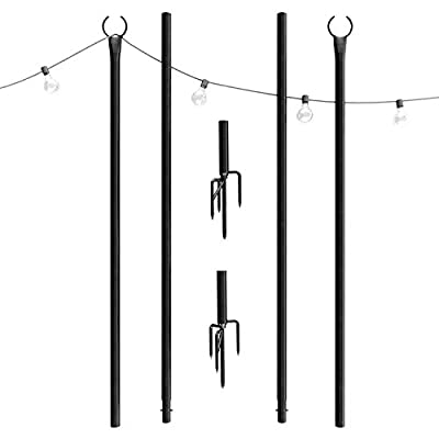 Outdoor String Lights Pole - Patent 4-Prong Fork to Dig Deep - Light Up Patio or Garden with LED Or Solar Hanging Bulbs - Water-Resistant Steel Powder Coated Poles for House Café Wedding
