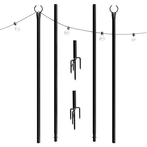 Outdoor String Lights Pole (2 x 8ft) - Patent 4Prong Fork to Dig Deep - Light Up Patio or Garden with LED Or Solar Hanging Bulbs - Water-Resistant Steel Powder - Light 8 Black