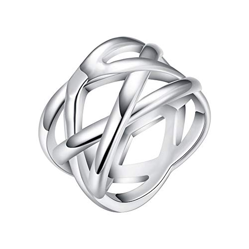 Cutesmile Fashion Jewelry 925 Sterling Silver Fish Mesh Wedding Ring for Women and Girls (10) ()
