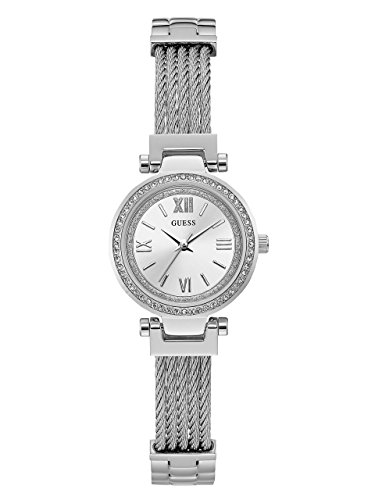 GUESS  Stainless Steel Wire Bangle Bracelet Watch with Self-Adjustable Links. Color: Silver-Tone (Model: U1009L1) Collection Stainless Steel Bracelet