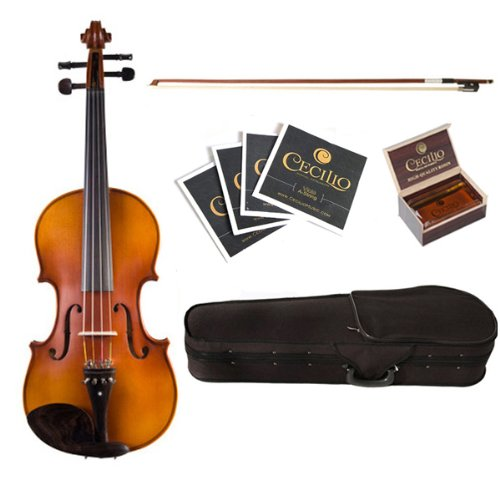 Cecilio CVA-500 15.5-Inch Ebony Fitted Solid Wood Viola by Cecilio