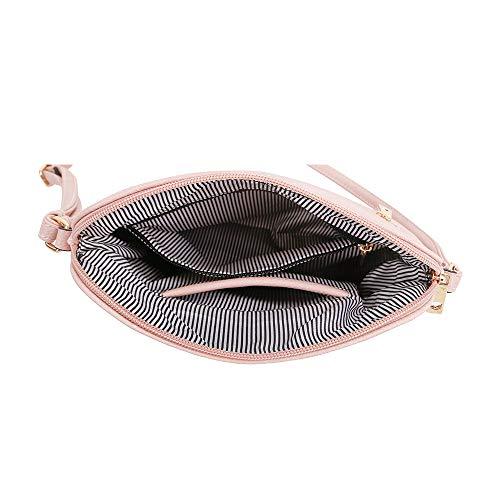 Medium 1 Zipper SG Crossbody Strap Dome SUGU with Bag Adjustable Blush Navy Tassel Lightweight Pocket 4qTEB