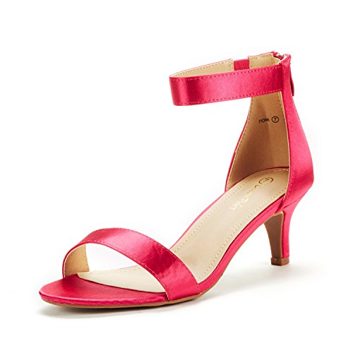 DREAM PAIRS Women's Fiona Fuchsia Satin Fashion Stilettos Open Toe Pump Heeled Sandals Size 6.5 B(M) US ()