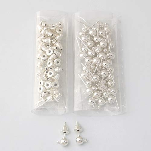 Earring Backs - 50 Sets Gold/Rhodium/Silver Plated Metal Earring findings for DIY Jewelry Making Accessories