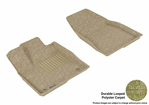 3D MAXpider Front Row Custom Fit Floor Mat for Select Toyota Highlander Models – Classic Carpet (Tan)