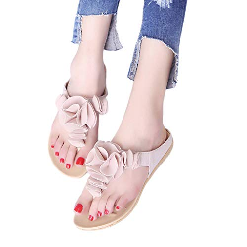 (Aunimeifly Women Summer Pretty Floral Lace Upholstered Beach Flip Flops Ladies Casual Flat Shoes Sandals Pink )