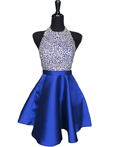 blue and silver short prom dresses - 9