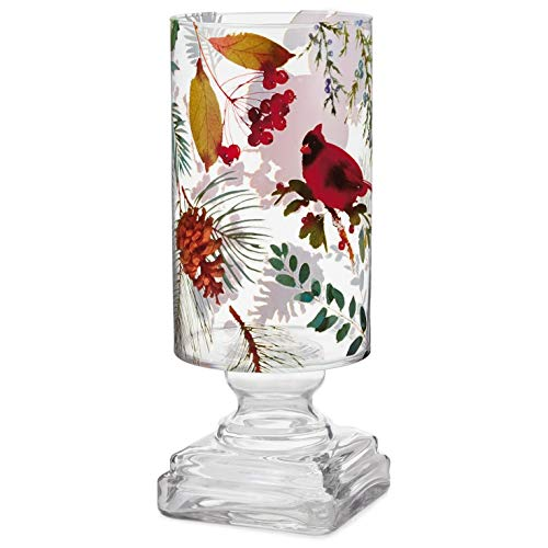 (Winter Foliage Large Glass Hurricane Candle Holder, 11.5
