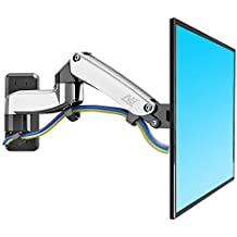 North Bayou TV Monitor Wall Mount Bracket with Full Motion Articulating Swivel and Gas Spring for 17-27 Inch Flat Panel Displays (chrome-plating-double extension)