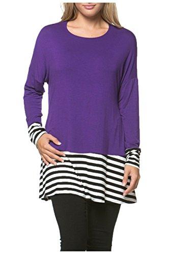 OURS Women's Casual Long Bat Sleeve Round Neck Loose Tunic Shirt Blouse Tops (L, Purple) (Shirt Purple Black Striped)