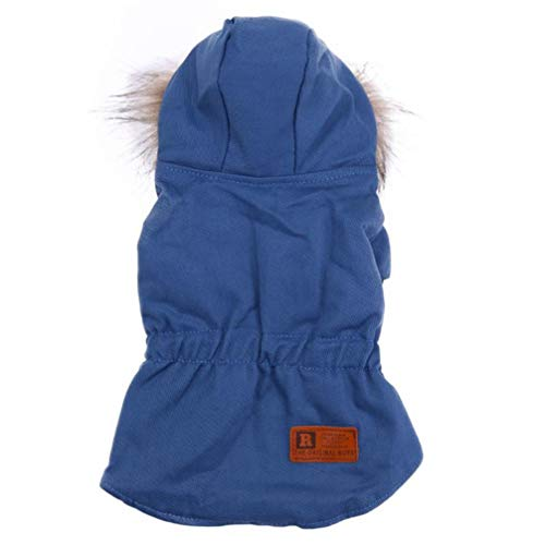 MEIZOKEN Warm Down Dog Coat Jacket Winter Tight Clothes w/Fur Collar Puppy Hooded Clothing for Chihuahua Small Large -