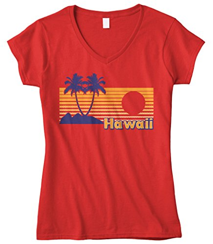 Cybertela Women's Hawaii Hawaiian Hi Sunset Beach Palm Tree Fitted V-neck T-shirt (Red, Medium)