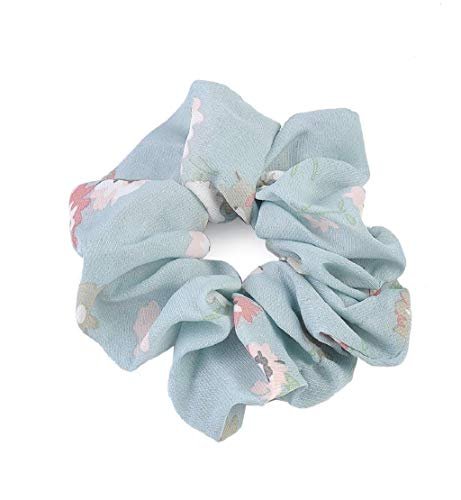 - Clearance Sale!DEESEE(TM)Summer Floral Hair Scrunchies Bun Ring Elastic Fashion Sports Dance Scrunchie (Light Blue)