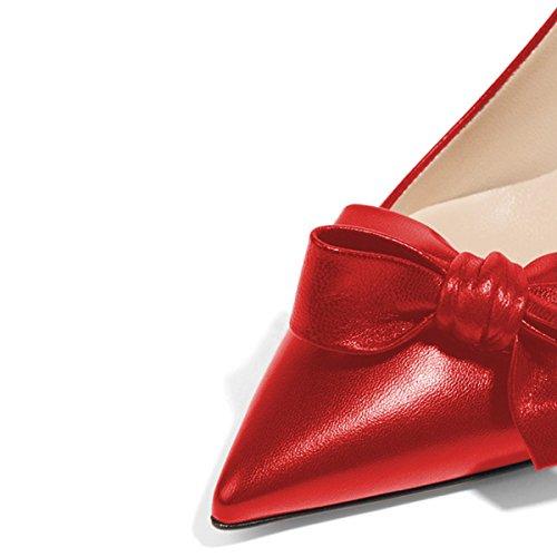 Xyd Femmes Mode Bout Pointu Escarpins Pompes Talon Haut Glisser Sur Robe Chaussures Avec Des Arcs Vin Rouge