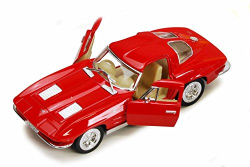 1963 Chevy Corvette Stingray, Red - Kinsmart 5358D - 1/36 scale Diecast Model Toy Car (Brand New, but NO BOX) (Red Corvette Model Car)