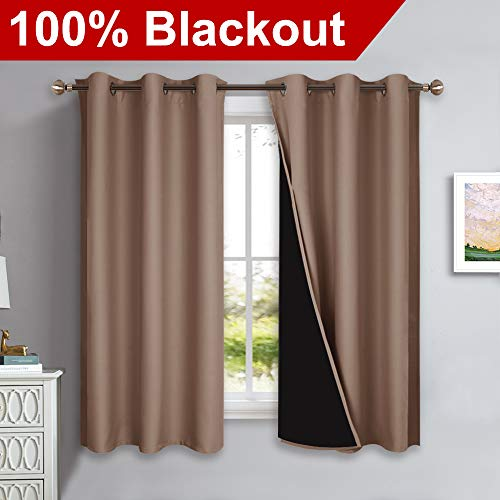 NICETOWN Total Blackout Panels for Nursery, Super Soft, Heavy Duty and Thick Window Treatment Curtains 63 Inches Long with Black Lined for Basement, Grommet Top (1 Pair, Taupe, 42
