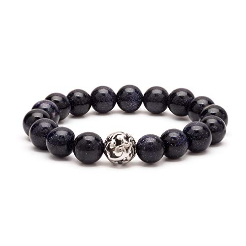 (eletout Handmade 10mm Round Natural Semi PreciousGemstone Beaded Stretch Ornament Bracelets (Blue Sand Stone & Hollow Bead))