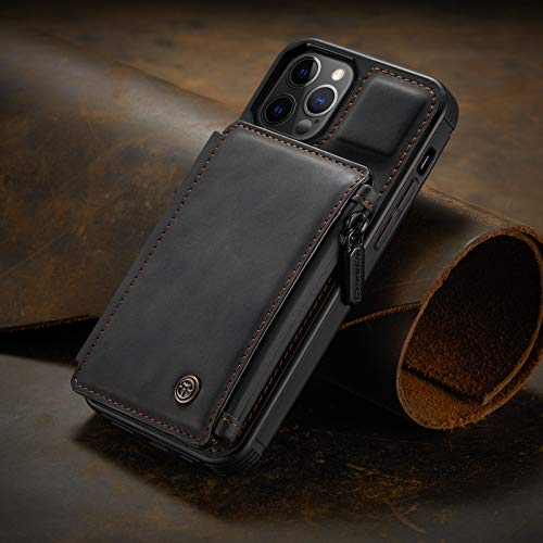 Compatible with iPhone 12 Mini, Premium PU Leather and Zipper Purse Design Wallet Case with【RFID Blocking】 Card Holder Slot, Kickstand, Double Magnetic Clasp, Durable Shockproof Cover 5.4 Inch(Black)
