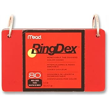 """Index Cards Ringdex,w/Removable,Poly Tab,3""""x5"""", (MEA63072) Category: 80 Index Cards and Index Card Boxes, Color May Very"""