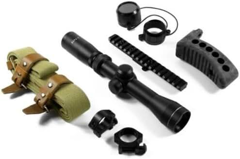 AIM Sports 2-7x32 Mosin Nagant Optics Rifle Scope Combo Kit, Matte Black with M44/Mosin Nagant Scope Mount, 1