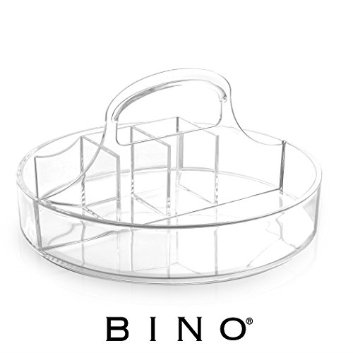 BINO 'The Parlor Caddy' 6 Compartment Acrylic Makeup and Jewelry Organizer with Carrying Handle, Clear and Transparent Cosmetic Beauty Vanity Holder Storage