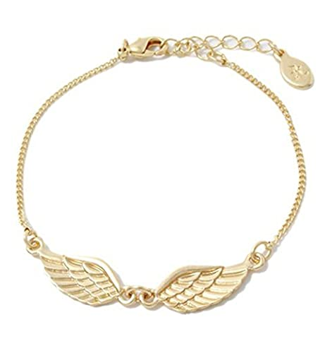 Angel Wing Charm Bracelet Rose Gold Plated Chain Link Adjustable Fashion Jewelry For Women Girls