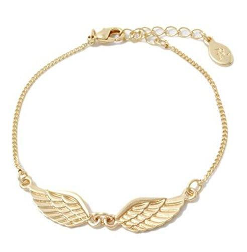 Angel Wing Charm Bracelet Rose Gold Plated Chain Link Adjustable Fashion Jewelry For Women Girls (Custom Angel Wings Costume)