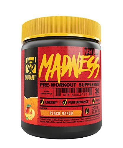 Mutant Madness - Redefines the Pre-Workout Experience and Takes it to a Whole New Extreme Level, Engineered Exclusively for High Intensity Workouts, 225g - Peach Mango