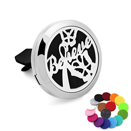 Car Aromatherapy Essential Oil Diffuser Air Freshener Vent Clip, Believe Stainless Steel 30mm Locket, 17 Refill Pads