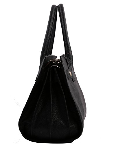 KAXIDY Elegant Leder Handtasche Damentasche (Lila) Schwarz