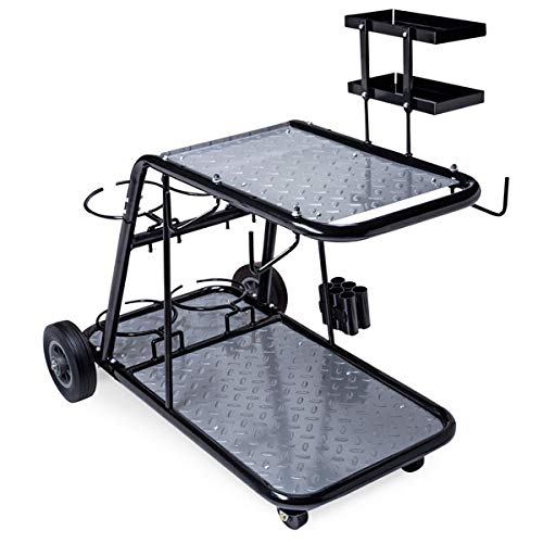 Eastwood Professional Welding Cart for TIG MIG Stick Welder Plasma Cutter Black Steel Construction with Trays Cable Gas Bottle Holder and Wheels