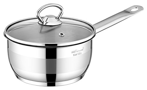 Safinox 18/10 Stainless Steel Tri-Ply Thermo Capsulated Bottom 1.5-Quart Sauce Pan with Glass Lid, Induction Ready, Dishwasher Safe