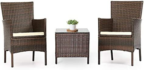 LAHAINA Patio Furniture Set 3 Piece Outdoor Wicker Bistro Set Rattan Chair Conversation Sets with Coffee Table Brown