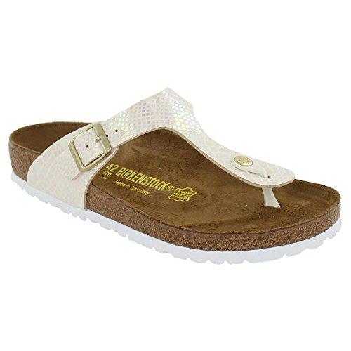 (Birkenstock Women's Gizeh Thong Sandal (37 M EU, Shiny Snake Cream Birko Flor))