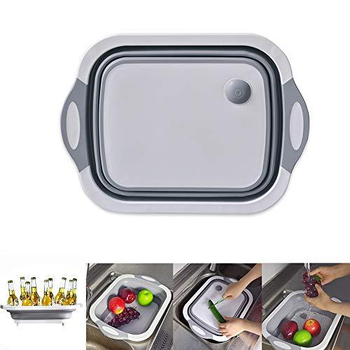 W-ShiG Folding Cutting Board Washing Basin Drain basket Food Basket Ice Bucket, Multifunction Collapsible Dish Tub Sink Cutting Board Strainer (rectangle)