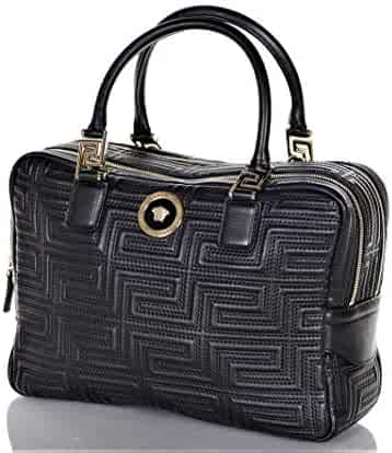 ab0138d08cc6 Versace Womens Real Leather Medusa Head Nappa Embroidery Hand Bag DBFB290S  Black