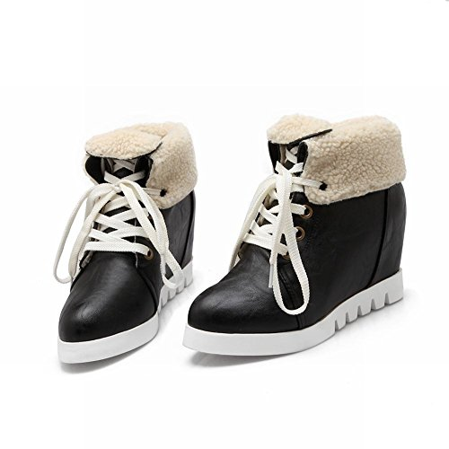 46fcbe86e3e28 chic Latasa Women's Fashion Cold Weather Winter Use Lace up Platform Inside  Wedge Heel Ankle High