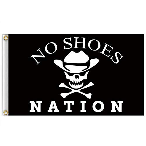 ForstONE No Shoes Nation Flag Banner with Grommets - 3x5 Feet Printed Polyester Flag Kenny Chesney Garage White Skull Bone Signature for Party Home Outdoor Decor]()