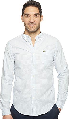 Lacoste Men's Long Sleeve Bold Textured Check Jacquard Poplin Slim Fit Seagull Grey/White Shirt